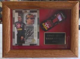 1997 ERNIE IRVAN AUTOGRAPHED TRADING CARD & DIECAST CAR FRAMED IN DISPLA... - $65.00