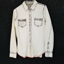 Jolt Retro Bleached Dyed Chambray Button Front Shirt Red Stitching Size S - $25.02