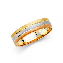 14K Tri-Color Gold 6mm Triple Row Wedding Band - $289.99+