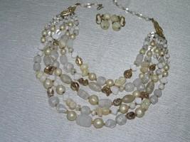 Vintage Japan Signed Multistrand White Swirl Glass & Cream & Goldtone Plastic Be - $15.79