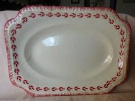 Antique Rococo Ware S C Co Platter Red Leaf Spongeware Under the Glaze #6M1 - $18.00