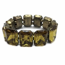 Mid Century Stretch Link Bracelet, 1950's Glamour, Lg Acrylic Gold Rhine... - $24.74
