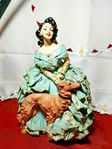 "ANTIQUE 1930s CHALKWARE WOMAN WITH WOLFHOUND BORZOI DOG VERY HEAVY 10.5""x 7 3/4"" image 1"
