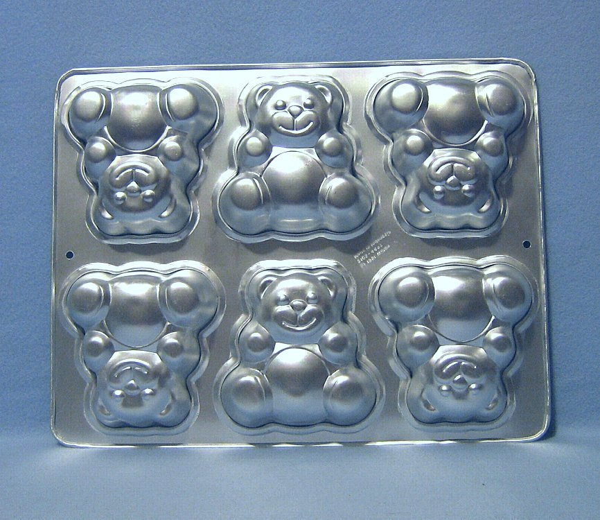 Primary image for Wilton 6 Mini Bears Cake Pan 2105 4497  1991