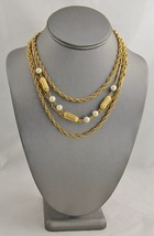 """VINTAGE Jewelry FOUR STRAND FX PEARL MULTI CHAIN ADJUSTABLE NECKLACE - 17"""" - $15.00"""