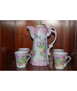RS Prussia Chocolate Set Pot Lid 4 Cups Pink Fl... - $200.00