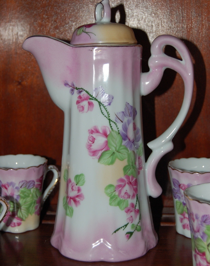 RS Prussia Chocolate Set Pot Lid 4 Cups Pink Floral