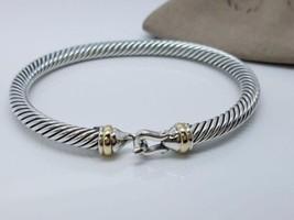 David Yurman Sterling Silver 925 5mm Cable Buckle 18k Gold Cuff Bracelet - $246.51