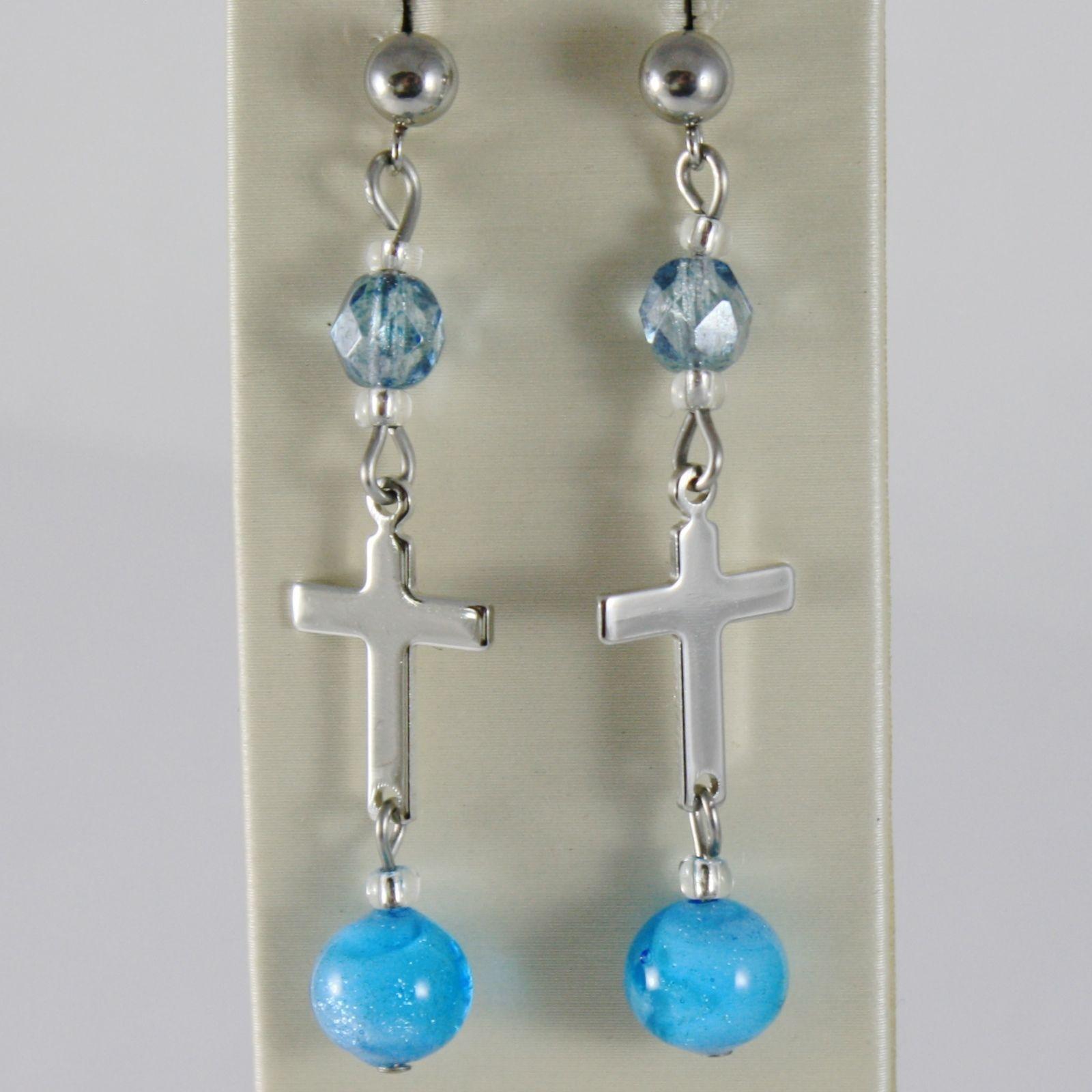 EARRINGS ANTICA MURRINA VENEZIA WITH MURANO GLASS BLUE LIGHT BLUE AND CROSS