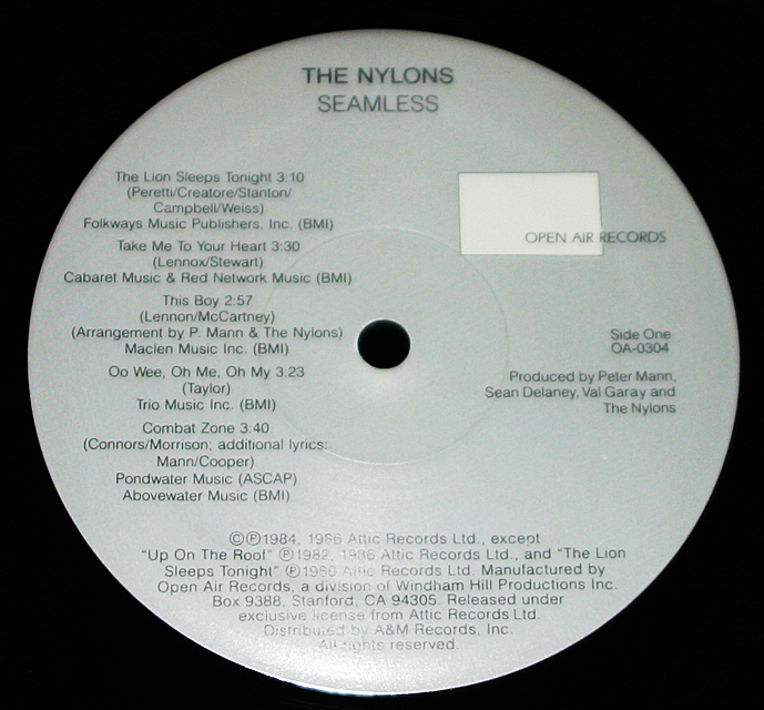 "The Nylons  ""Seamless""  Open Air Records OA-0304    LP"