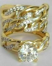 14K Yellow Gold Over 3 Ct Round his hers Trio Engagement Wedding Band Ri... - $183.15