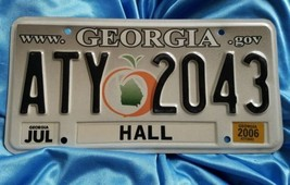 "GEORGIA peach state grey LICENSE PLATE  "" ATY 2043 "" GA Tag HALL JUL Gov... - $16.45"