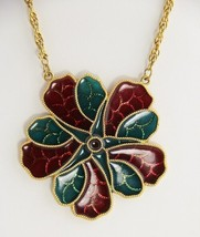 "VINTAGE Jewelry KITSCHY ""STAINED GLASS"" RESIN CHRISTMAS FLOWER PENDANT N... - $10.00"