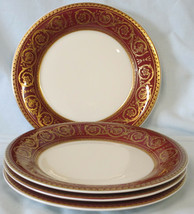 Castleton Flamenco Red Gold Bread Plate set of 4 - $45.43