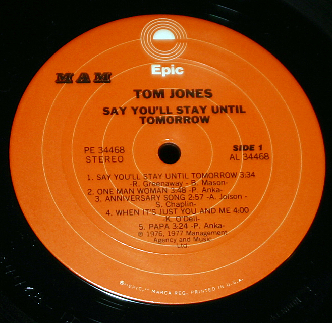 "Tom Jones  ""Say You'll Stay Until Tomorrow""     LP"
