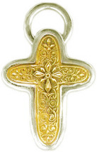 Gerochristo 5292 - Solid Gold & Sterling Silver Byzantine Cross Pendant  - $750.00