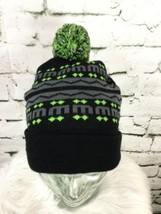 Unisex One Sz Hat Green Striped Knit Pom-Pom Beanie Winter Cap - $9.89