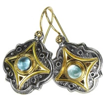 Gerochristo 1211 -  Gold, Silver & Aquamarine Medieval-Byzantine Earrings  - $960.00