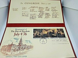 Stamp FDC Fleetwood July 4 '76 America's Bicentennial 1776-1976 with case - $18.52