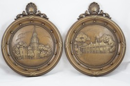 Vtg Homco Plaques Independence Hall & Mount Vernon 3D Relief Circle Brown USA - $12.13