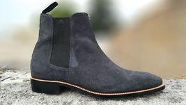 Handmade Men's Dark Gray Suede Chelsea Style Boots image 4