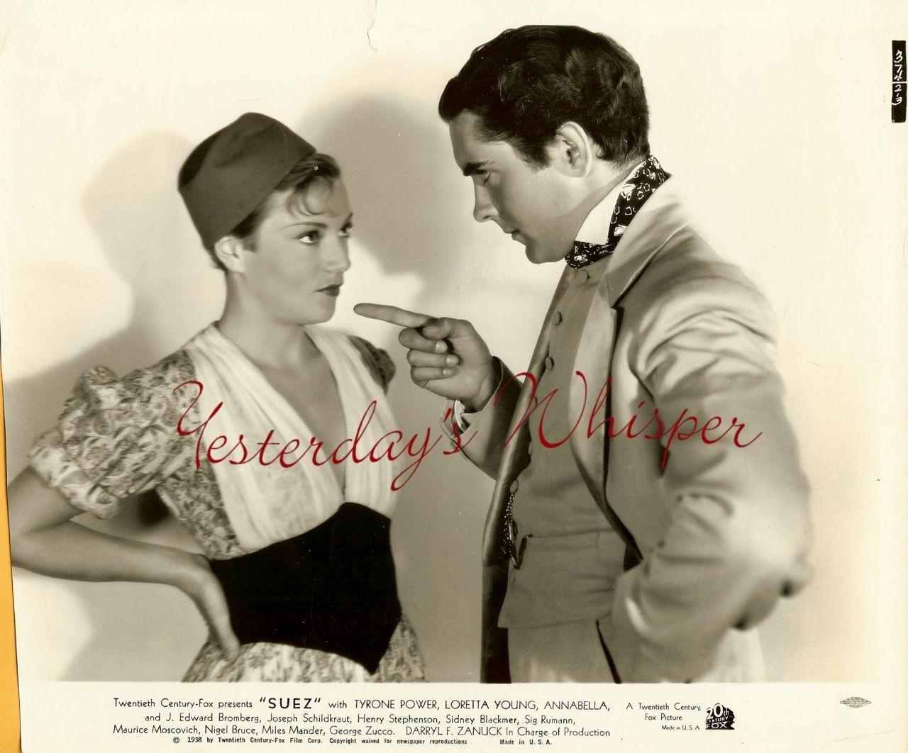 1938 Vintage Movie Photo Tyrone Power Annabella Suez K477