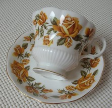 LARGE YELLOW ROSES Royal Albert China FOOTED TEA CUP & SAUCER Made in En... - $24.24