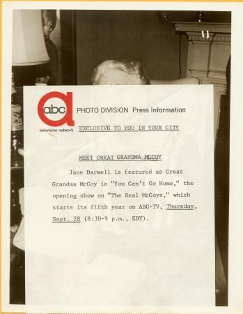 1961 Vintage ABC TV Photo Jane Darwell The Real McCoys k410