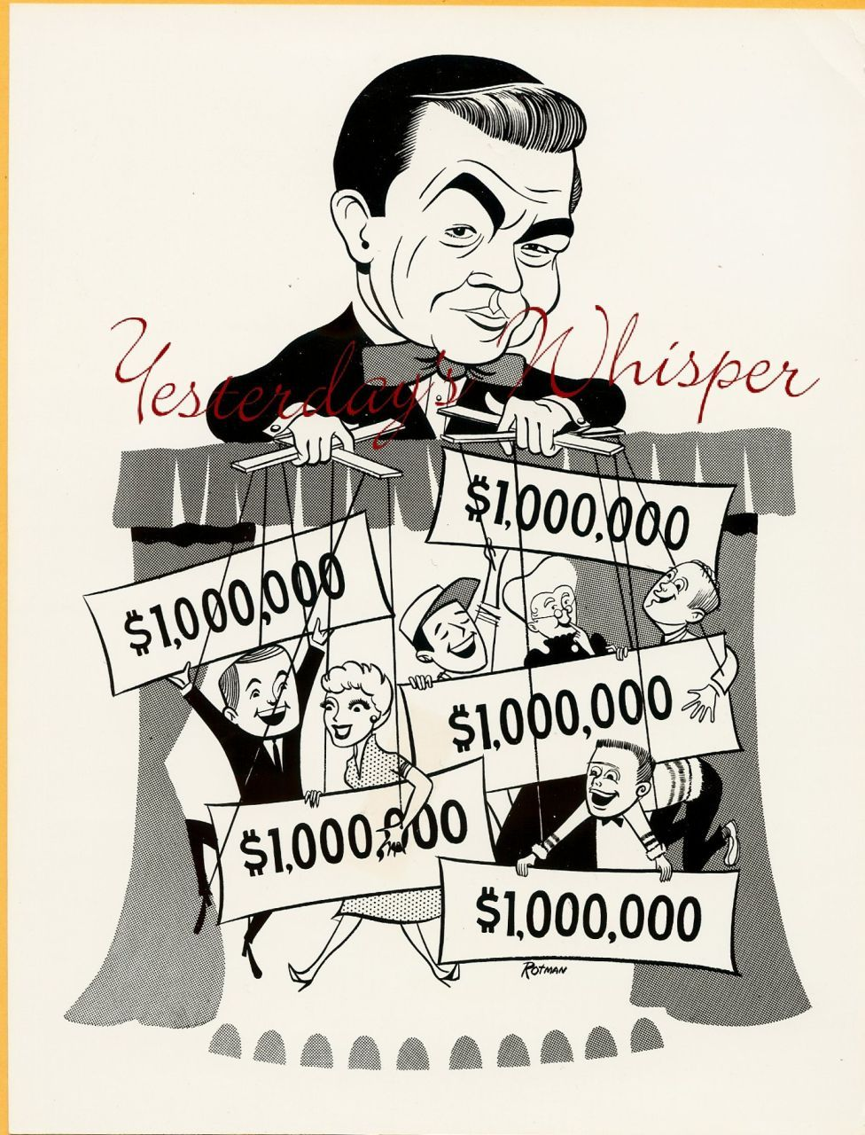 1960 Rotman Ad Art TV PHOTO Marvin Miller Millionaire k450