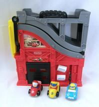 2010 Fisher Price Little People Wheelies Garage Race Track w/ 3 Cars Fol... - $23.03