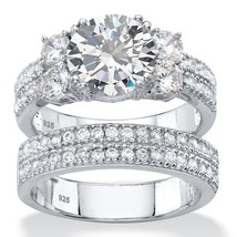 4.18 TCW 2-Piece Cubic Zirconia Platinum over .925 Silver Wedding Ring Set - $51.82
