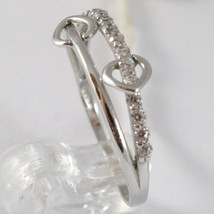 White Gold Ring 750 18K, Veretta Double Heart With Zircon, Made IN Italy image 2