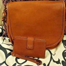 NWT Fossil Rumi Saddle Flap Brown Crossbody Handbag Purse with Clutch Wallet - $120.00