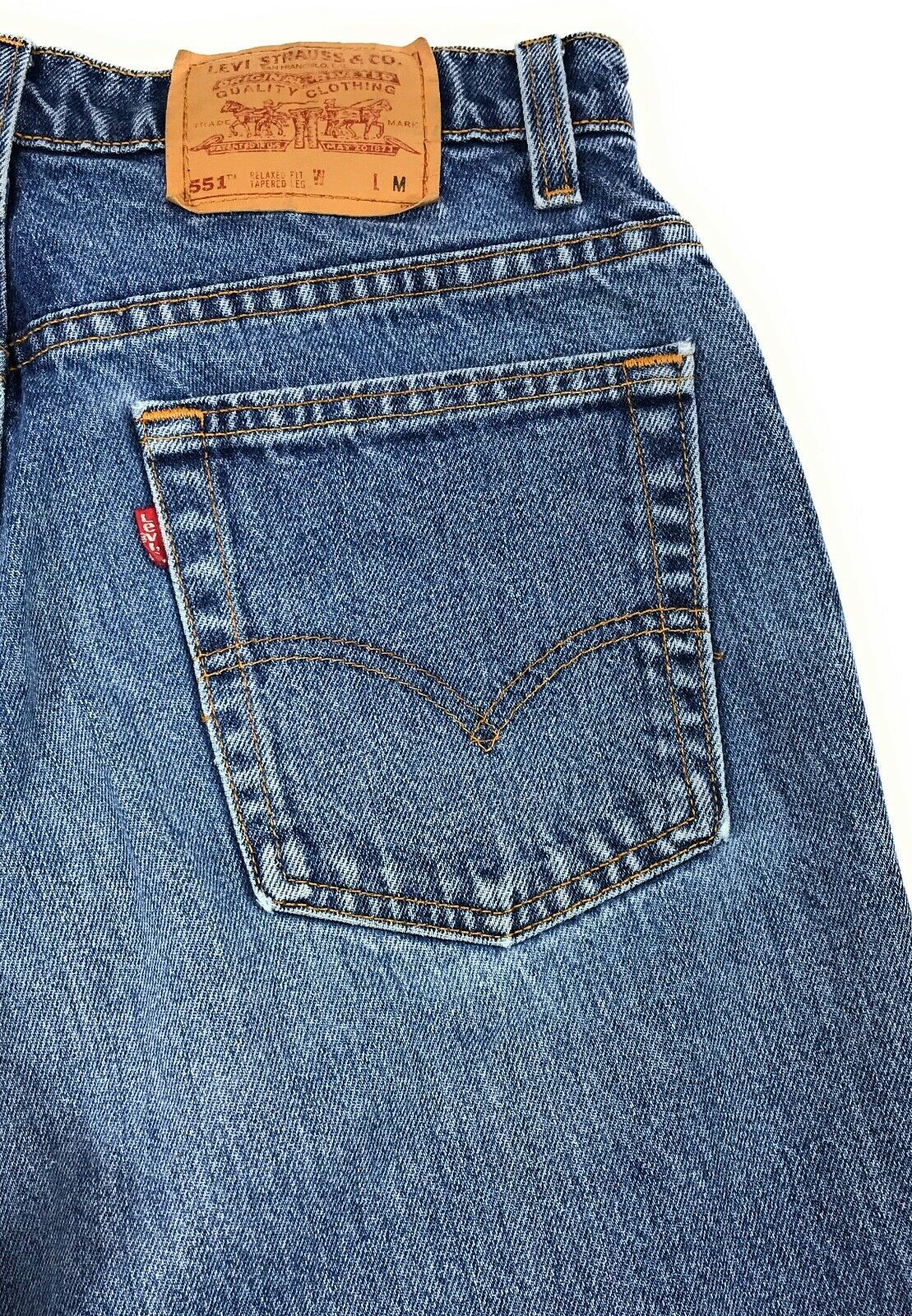 Vintage Levi's 551 Relaxed Tapered 100% Cotton USA Mom Blue Jeans Women's 14M