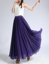 Women Chiffon Long Skirt High Waist Long Chiffon Skirt Wedding Bridesmaid Skirts