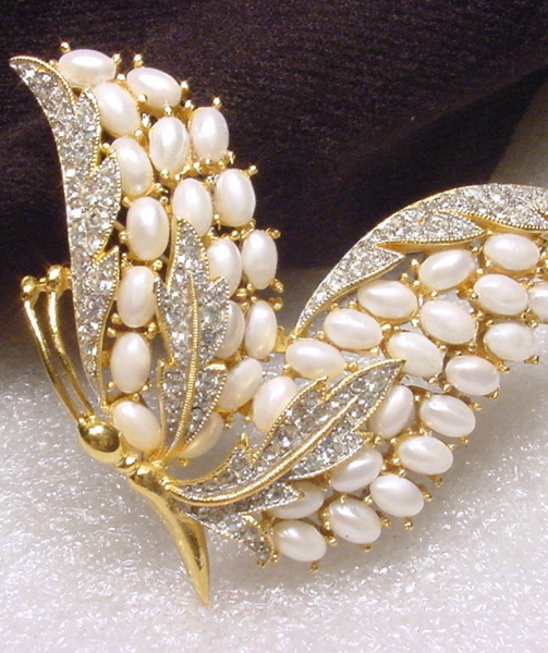 RARE, Vintage Crown Trifari© Enchantment Butterfly Faux Pearl Rhinestone Brooch