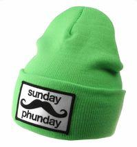 Team Phun Sunday Phunday Neon Orange Pink Yellow Green Skullie Hat Beanie Hat NW image 8
