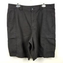 Tommy Bahama Relax Mens Cargo Shorts Sz 37 Black Solid Flat Front Tencel... - $28.94