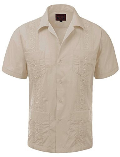 Guayabera Men's Cuban Beach Wedding Short Sleeve Button-Up Casual Dress Shirt (M