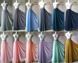 Wedding Maxi Silk Chiffon Skirt Dusty Blue Chiffon Maxi Skirt Full Circle image 14