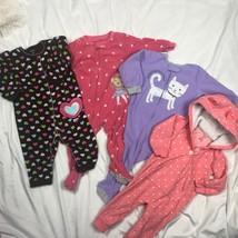 Carters Fleece Blanket Sleeper Pajamas + Romper Playwear Lot Girls 12 Mo... - $33.59