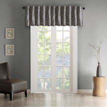Luxury Grey Faux Silk Embroidered Rod Pocket Window Valance - $35.14