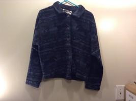 Women's True Grit Black and Navy Blue Fluffy Shirt w Horse Design Sz LG