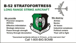 """B-52 Stratofortress Big Bomb Card Decal -  4"""" Wide x 2.28"""" High Decal - $11.87"""