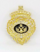 Double Headed Eagle Heraldic Russian Coat Of Arms Rhinestone Brooch - $29.69