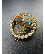 Rustic Brooch of White and Blue Crystals in Shape of Flower Bouquet Vint... - $18.95