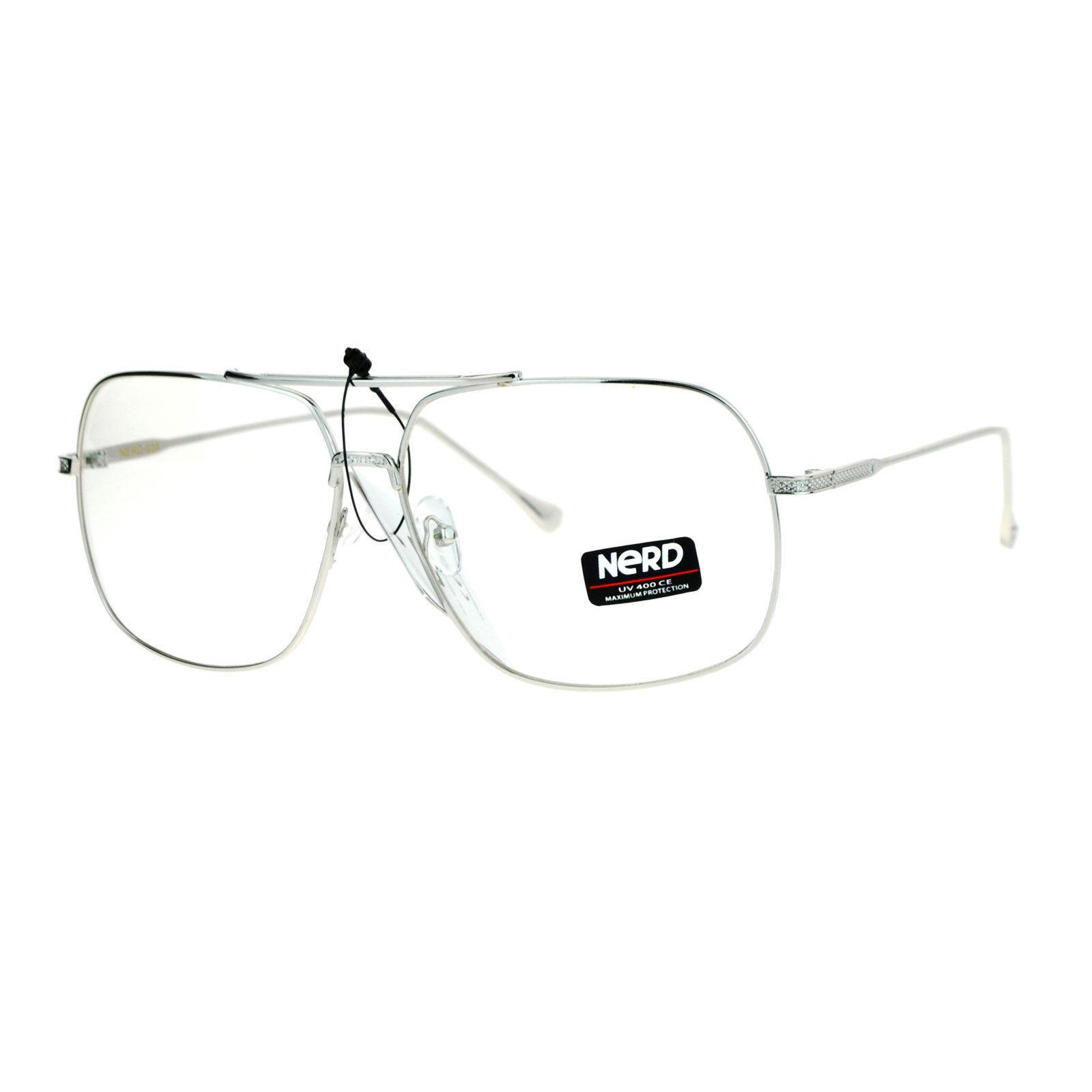 Clear Lens Eyeglasses Oversized Square Metal Vintage Driver Fashion