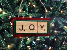 Joy Happy Love Dream Christmas Ornament Scrabble Inspire Believe Empower - $8.90