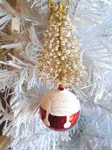 Christmas Tree Ornament Gold Star Spiral Tree Red White Glitter Bell - $6.99