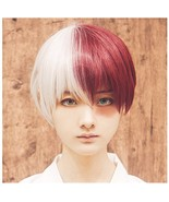 ColorGround Half Silver White Half Red Cosplay Wig for Halloween - $25.27